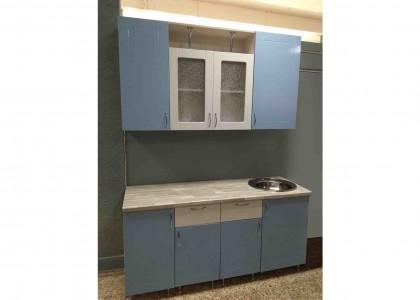 Кухня МДФ Белый+Голубой металлик